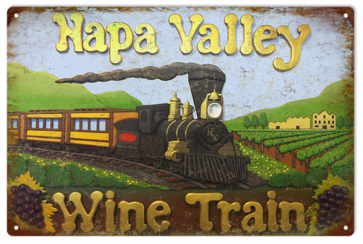 Napa Valley Wine Train Reproduction Sign