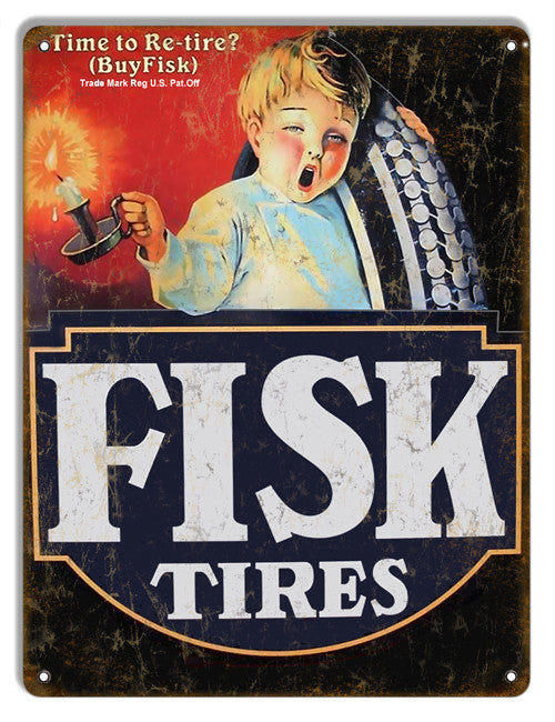 Fisk Tires Reproduction Gas Station Metal  Sign 9″x12″