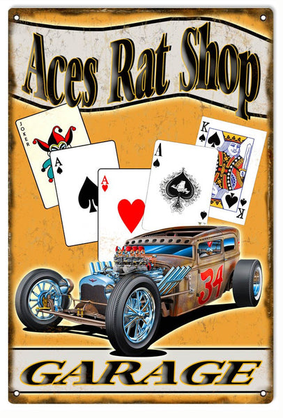 Aces Rat Shop Garage Metal Sign. 12″x18″