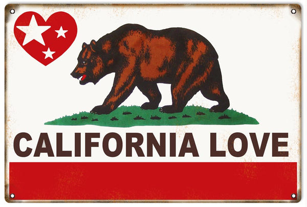 California State Flag Love Nostalgic Sign 12x18
