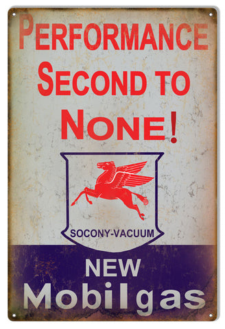 Second To None Mobilgas Reproduction Motor Oil Metal  Sign 12″x18″