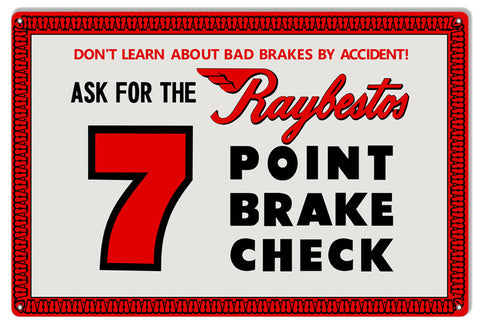 Raybestos 7 Point Break Check Reproduction Gas Station Metal  Sign 12″x18″
