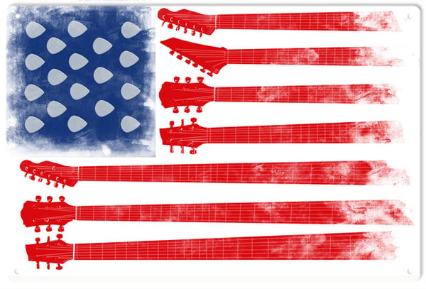 Guitar U.S.A. Flag Music Sign 12x18