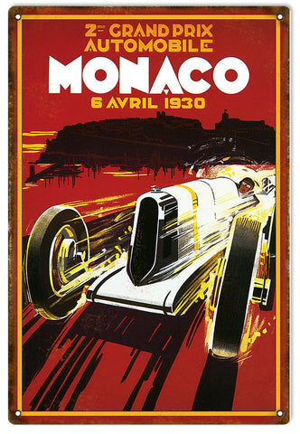 Monaco Grand Prix 1930 Reproduction Motor Speedway Sign 12x18