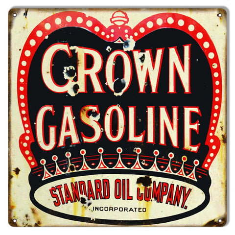 Crown Gasoline Motor Oil Reproduction Metal  Sign 12″x12″