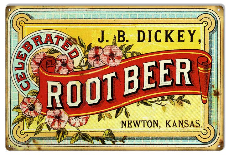 JB Dickey Root Beer Nostalgic Reproduction Metal  Sign 12″x18″