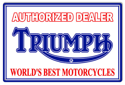 Authorized Triumph Motorcycle Reproduction Metal  Sign 12″x18″