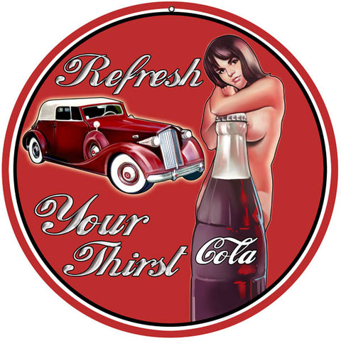 Cola Refresh Reproduction Pin Up Girl Sign 14,18,24,30 Round