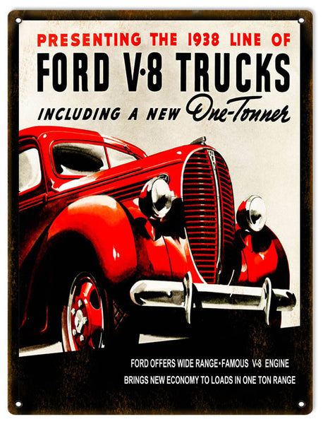 Ford V-8 Truck Aged Looking Reproduction Vintage Car Sign 9x12