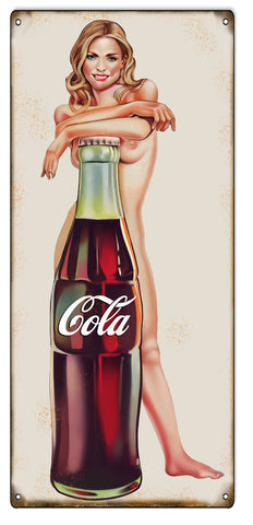 Cola Pin Up Girl Reproduction Nostalgic Metal Sign 8x18