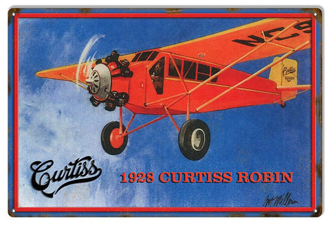 Reproduced from Original Art by Bob Miller 1928 Curtiss Robin Sign. 12″×18″