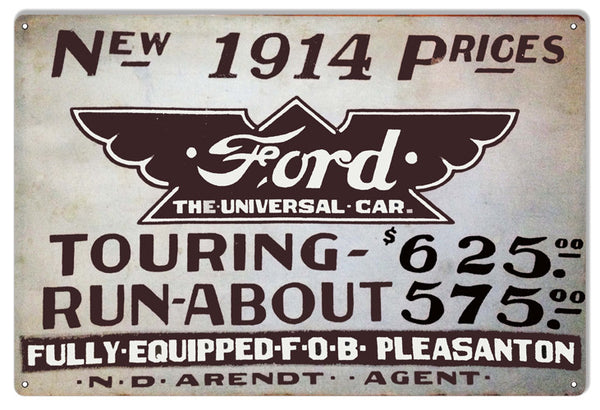 1914 Ford Car Garage Shop Reproduction Metal  Sign 12″x18″