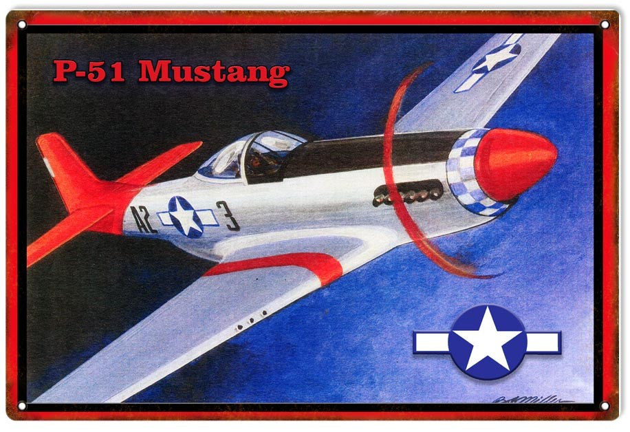 Reproduced From Original Art By Bob Miller North American Aviation P 51 Mustang Red Tail