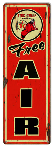 Large Distressed Free Air Texaco Reproduction Motor Oil Metal  Sign 8″x24″