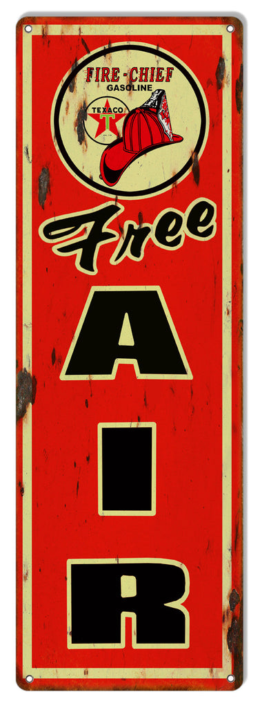 Texaco Free Air Distressed Reproduction Motor Oil Metal  Sign 6″x18″