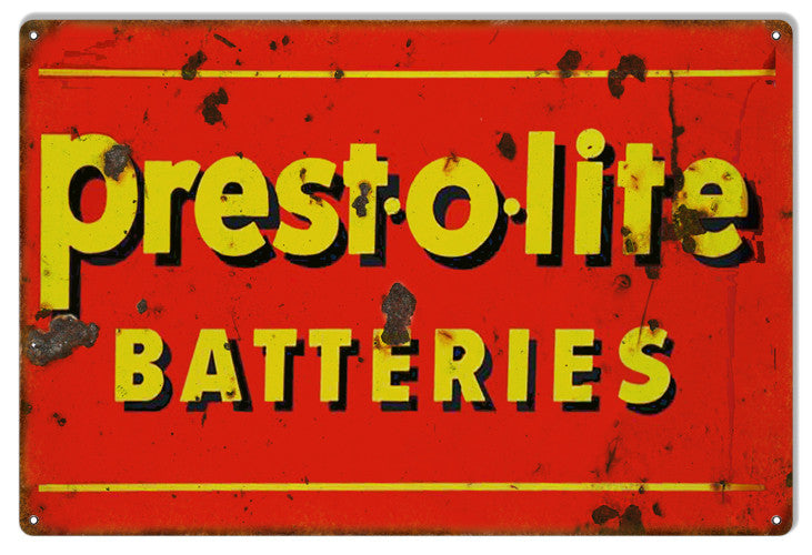 Prest-o-lite Batteries Reproduction Gas Station Metal  Sign 12″x18″