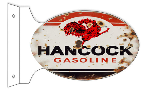 Hancock Gasoline Reproduction Double Sided Flange Metal  Sign 12″x18″