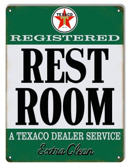 Aged Looking Texaco Extra Clean Restroom Gas Station Sign 9″×12″