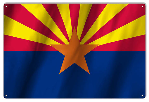 Arizona State Flag Reproduction Metal Sign 12x18