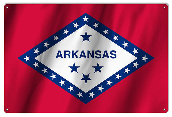 Arkansas State Flag Reproduction Metal Sign 12x18