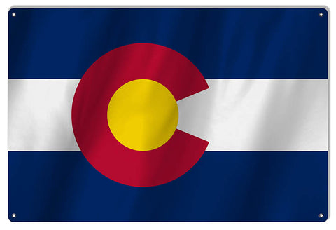 Colorado State Flag Reproduction Metal Sign 12x18
