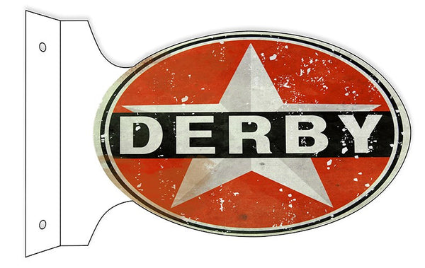 Aged Faux Rust Derby Gasoline Double Sided Flange Sign. 12″×18″ Oval