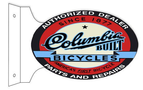 Columbia Built Bicycles Parts And Repair  Double Sided Flange Sign. 12″×18″ Oval