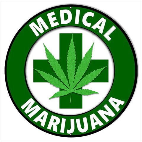 LARGE MARIJUANA CANNABIS SIGN 18″ ROUND