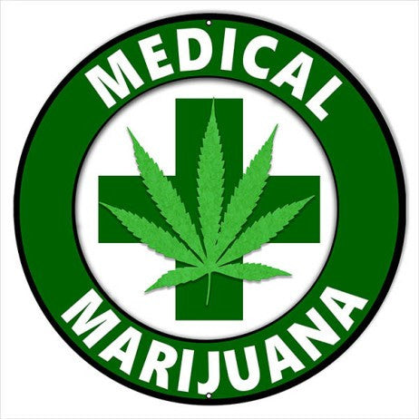 Extra Large Medical Marijuana Cannabis Sign 24″ Round