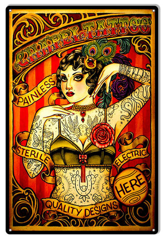 Chapel Tattoo Lady Reproduction Nostalgic Metal Sign 12x18