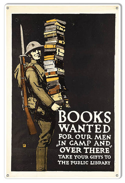 Books Wanted Military Sign. 12″×18″