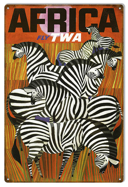 Fly TWA Africa Airlines Reproduction Nostalgic Metal Sign 12x18