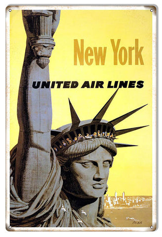 New York United Airlines Reproduction Nostalgic Metal Sign 12x18