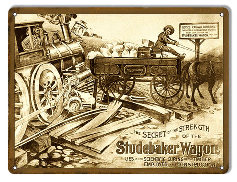 Studebaker Wagon Country Reproduction Metal  Sign 9″x12″