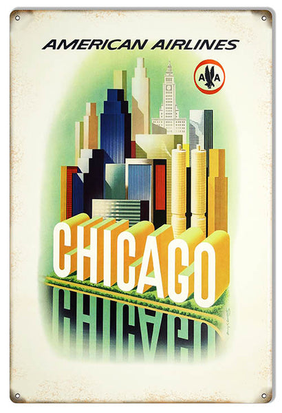 Chicago American Airlines Reproduction Nostalgic Metal Sign 12x18