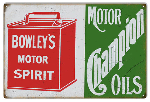 Bowleys Champion Motor Oil Reproduction Man Cave Metal Sign 12x18