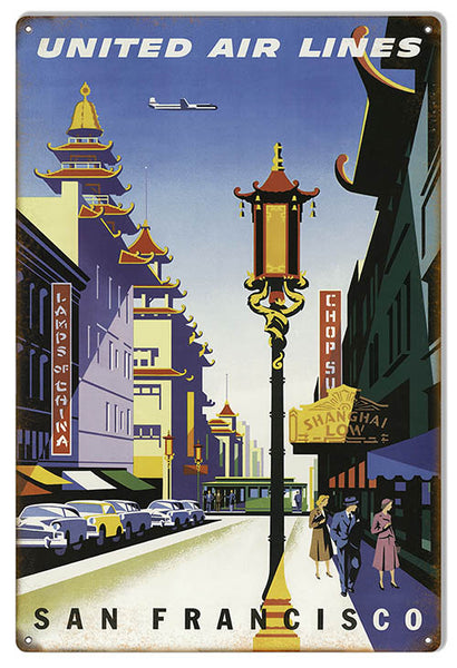 United Airlines San Francisco Reproduction Nostalgic Metal Sign 12x18