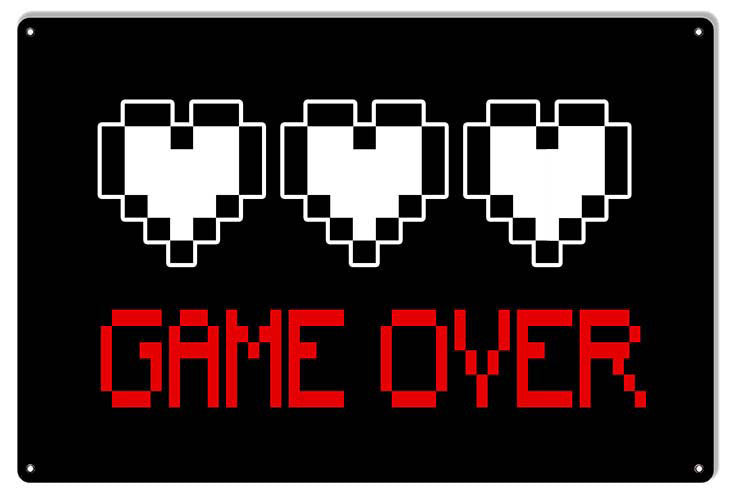 Game Over Video Game Reproduction Metal  Sign 12″x18″