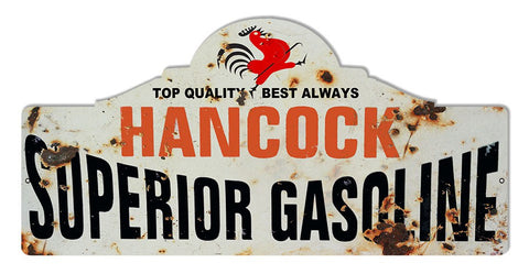 Distressed Hancock Motor Oil Laser Cut Out Reproduction Sign