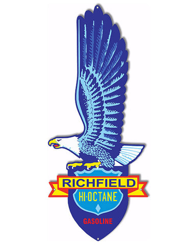 Richfield Hi Octane Gasoline Laser Cut Out Reproduction Sign 10″x24″