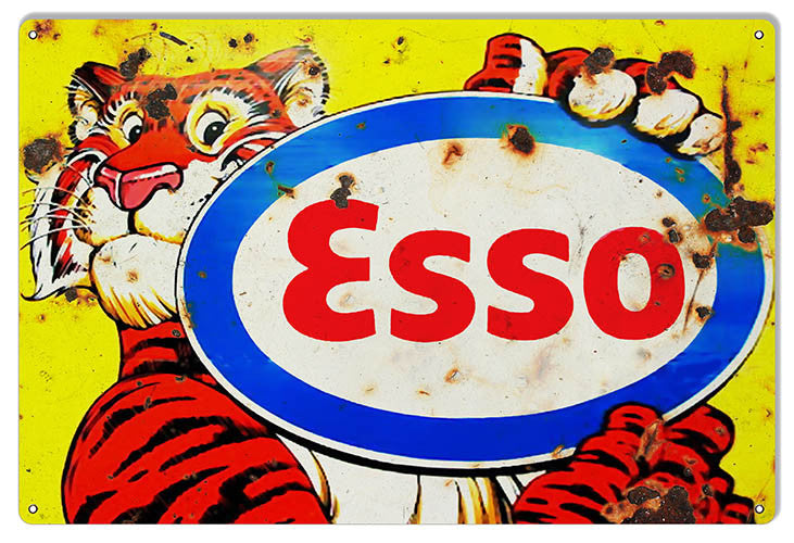 Distressed ESSO Tiger Motor Oil Reproduction Sign 12″x18 ...