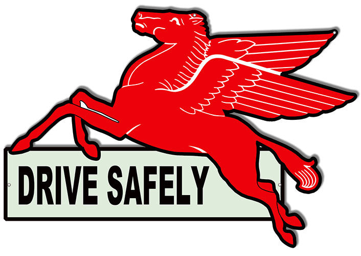 Drive Safely Pegasus Horse Laser Cut Out Reproduction Sign 16″X23.5″