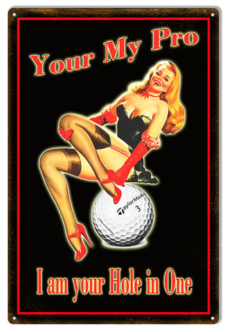 Golf Hole In One Pin Up Girl Reproduction Sign 12″x18″