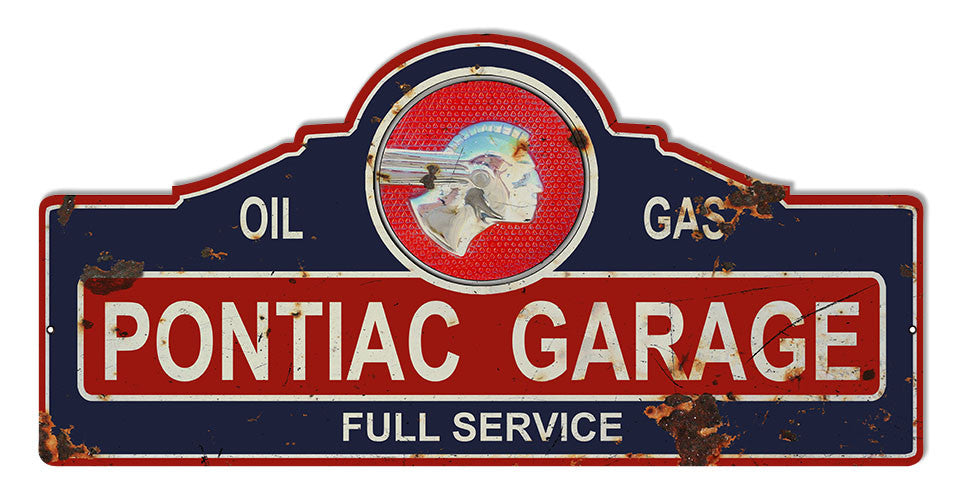 Distressed Pontiac Garage Art Laser Cut Out Reproduction Sign 23x11 1/4