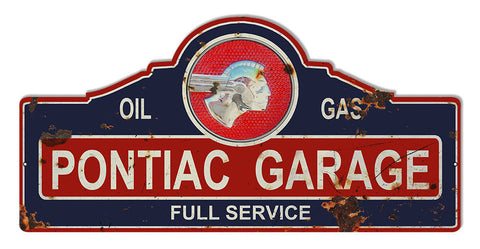 Distressed Pontiac Garage Art Laser Cut Out Reproduction Sign 23″x11 1/4″