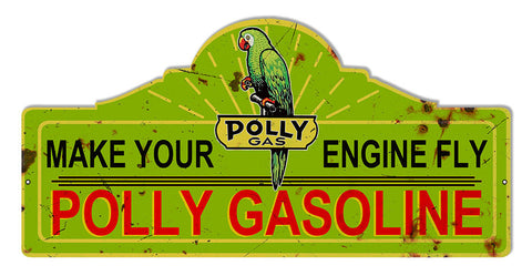Distressed Polly Motor Oil Laser Cut Out Reproduction Sign 23″x11.1/4″