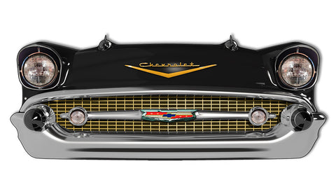 Front End Black Chevrolet Laser Cut Out Reproduction Sign 24.5″x10″