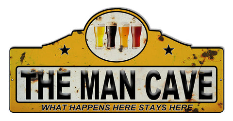 Distressed Man Cave Bar Laser Cut Out Reproduction Sign 23″x11.1/4″