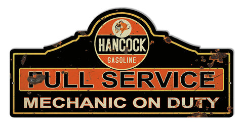 Distressed Hancock Service Station Cut Out Reproduction Sign 23″x11.1/4″