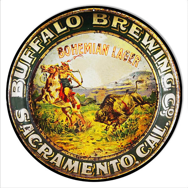 Distressed Buffalo Brewing Sacramento Bar Reproduction Sign 14″ Round